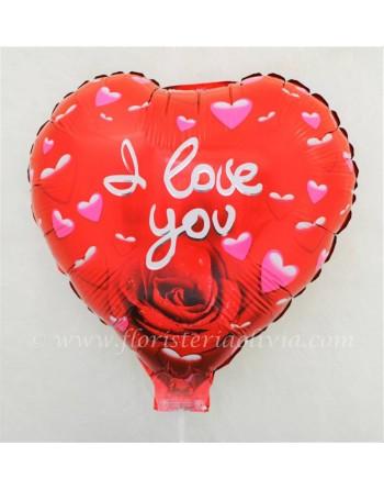 GLOBO I LOVE YOU CON ROSA (h: 70 cm, diam: 35 cm)